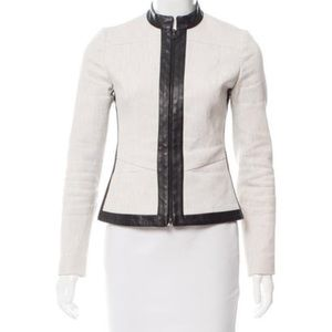 Narciso Rodriguez Leather Trimmed Blazer